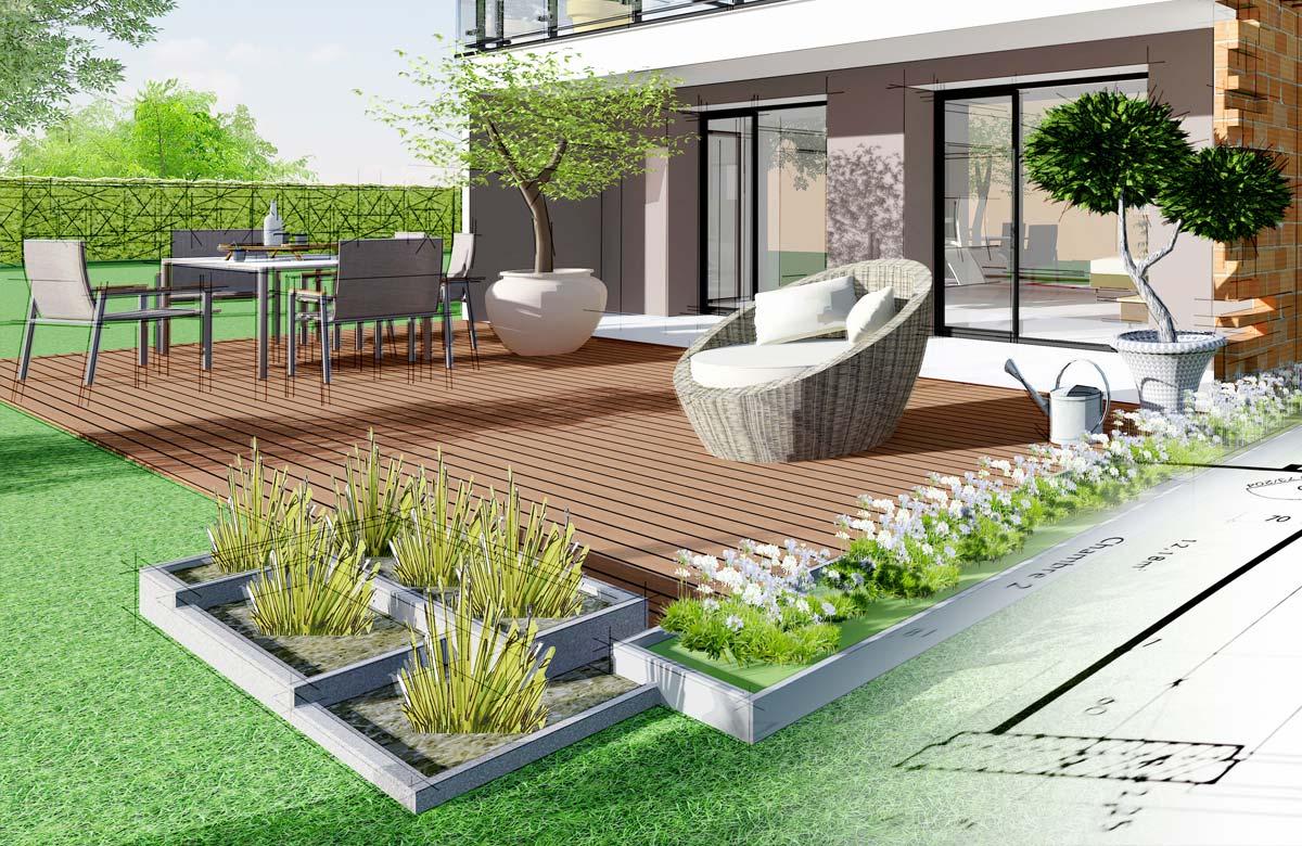 Gartenplanung mit Pflanzen und Terrasse